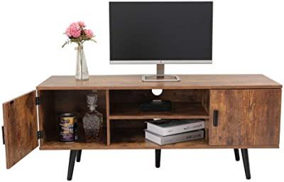Most Up To Date Amazon: Mecor Modern White Tv Stand With Led Light With 57'' Tv Stands With Open Glass Shelves Gray & Black Finsh (View 7 of 10)