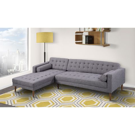 Most Up To Date Element Right Side Chaise Sectional Sofas In Dark Gray Linen And Walnut Legs Pertaining To Armen Living Element Tufted Dark Grey Linen Sectional Sofa (View 5 of 10)
