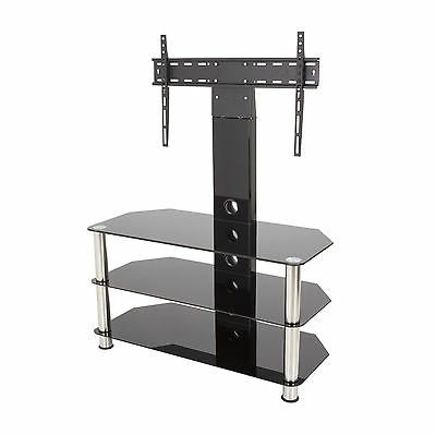 """Most Up To Date Glass Shelves Tv Stands For Black Glass Tv Stand With Wall Bracket For 32 – 55"""" Tvs (View 10 of 10)"""