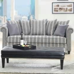 Most Up To Date Grey Striped Sofa With A Solid Wood Frame And Nailhead With 2pc Polyfiber Sectional Sofas With Nailhead Trims Gray (View 7 of 10)