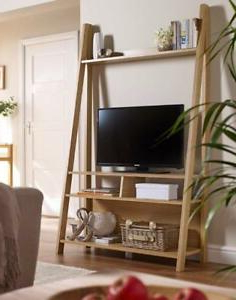 Most Up To Date Ladder Oak Or White Shelving And Desk Tv Unit Bookcase Within Tiva Oak Ladder Tv Stands (View 4 of 10)