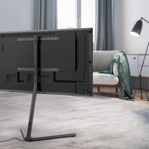 Most Up To Date Modern Black Floor Glass Tv Stands With Mount In Fs17 46f,slender V Base Studio Tv Floor Stand – Tv Stands (View 8 of 10)