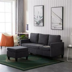 Most Up To Date Modern Microfiber Sectional Sofa – Small Space Pertaining To Noa Sectional Sofas With Ottoman Gray (View 4 of 10)