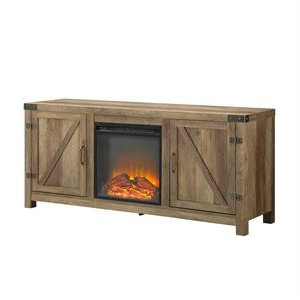 """Most Up To Date Pemberly Row 58"""" Barn Door Fireplace Tv Stand In Rustic Regarding Tv Stands With Sliding Barn Door Console In Rustic Oak (View 2 of 10)"""