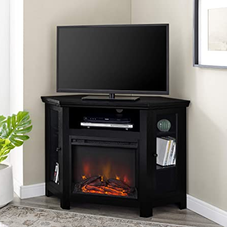 """Most Up To Date We Furniture 48"""" Black Wood Corner Fireplace Tv Stand With Corner Tv Stands For Tvs Up To 48"""" Mahogany (View 3 of 10)"""