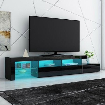 New 3 Drawer Tv Table Stand Cabinet Led Entertainment Unit For Recent Zimtown Tv Stands With High Gloss Led Lights (View 4 of 10)