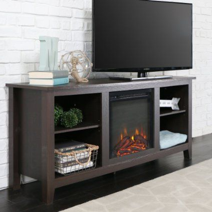 New 58 Inch Tv Stand With Fireplace In Espresso Finish For Most Up To Date Fireplace Media Console Tv Stands With Weathered Finish (View 3 of 10)