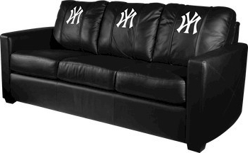 New York Yankees Mlb Xcalibur Leather Sofa – Traditional Regarding Favorite Bonded Leather All In One Sectional Sofas With Ottoman And 2 Pillows Brown (View 10 of 10)