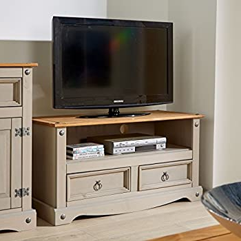 Newest Corona Pine 2 Door 1 Shelf Flat Screen Tv Unit Stands Pertaining To Lancaster Grey Living Room Furniture Range (small Tv (View 4 of 10)