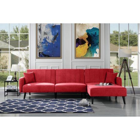 Newest Dulce Mid Century Chaise Sofas Dark Blue With Mid Century Reclining Sectional Sleeper Sofa, Red (View 3 of 10)