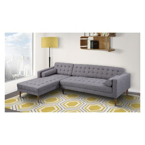 Newest Element Right Side Chaise Sectional In Dark Gray Linen And With Element Right Side Chaise Sectional Sofas In Dark Gray Linen And Walnut Legs (View 1 of 10)
