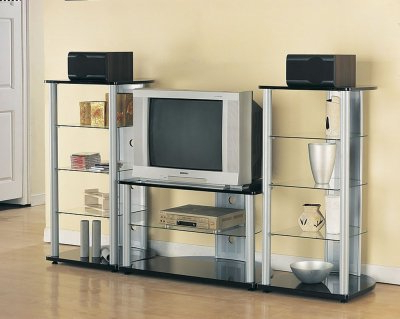 Newest Glass Shelves Tv Stands Throughout Silver & Black Modern Tv Stand W/black Glass Shelves (View 8 of 10)