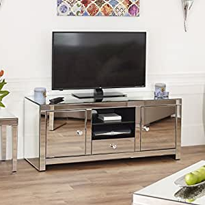 Newest Loren Mirrored Wide Tv Unit Stands Intended For Venetian Mirrored Widescreen Tv Unit: Amazon.co (View 9 of 10)