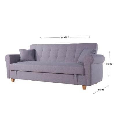 Newest Nora 3 Seater Sofa Bed With Storage – Space Grey (View 5 of 10)
