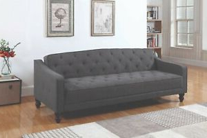 Newest Perfect For Dorm Room Grey Polyester Futon Sofa Bed Futon Inside Easton Small Space Sectional Futon Sofas (View 6 of 10)