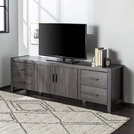 Newest Walker Edison Farmhouse Tv Stands With Storage Cabinet Doors And Shelves With Amazon: Walker Edison Industrial Modern Wood Universal (View 3 of 10)