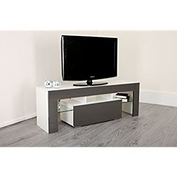 Newest White Or Grey High Gloss 130cm Led Light Tv Stand Unit With Regard To Zimtown Tv Stands With High Gloss Led Lights (View 5 of 10)