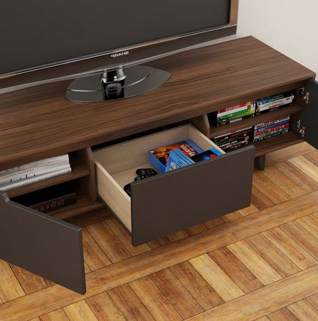 """Nexera Alibi 60 Inch Walnut And Charcoal Tv Stand In Newest Millen Tv Stands For Tvs Up To 60"""" (View 7 of 10)"""