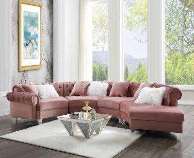 Ninagold Sectional Sofa 57360 In Pink Velvetacme Within 2018 Strummer Velvet Sectional Sofas (View 4 of 10)