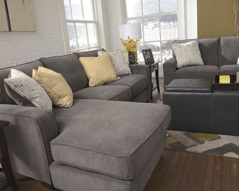 Noa Sectional Sofas With Ottoman Gray Pertaining To Favorite Signature Designashley 7970018 Grey Fabric Sectional (View 2 of 10)