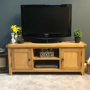 Oak Tv Unit Large Solid Wood Wide Television Stand Chunky Throughout Fashionable Carbon Wide Tv Stands (View 8 of 10)