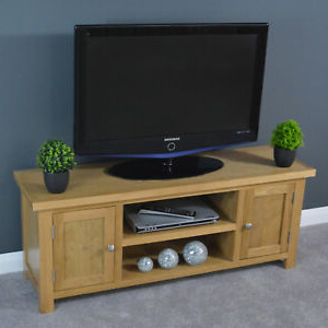 Oak Wide Tv Stand / Large Tv Cabinet / Solid Wood / Plasma Regarding Most Recently Released Oliver Wide Tv Stands (View 4 of 10)
