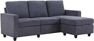 Polyfiber Linen Fabric Sectional Sofas Dark Gray With 2017 Amazon: Honbay Convertible Sectional Sofa Couch, L (View 6 of 10)