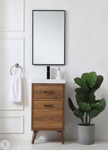 "Popular Boise Walnut Brown 18"" Bathroom Vanity From Elegant Inside Felton Modern Style Pullout Sleeper Sofas Black (View 6 of 10)"