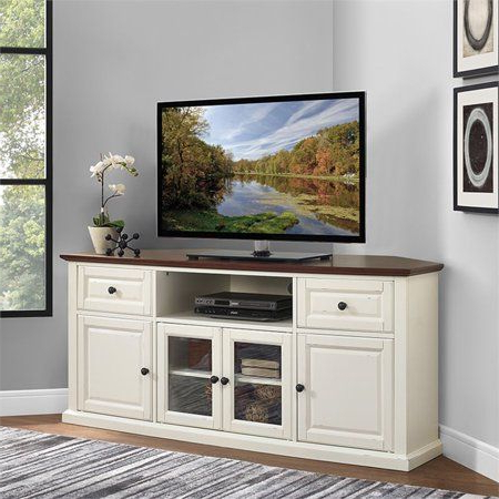 """Popular Corner Tv Stands For Tvs Up To 60"""" Within Crosley Furniture Shelby 60"""" Corner Tv Stand In White With (View 2 of 10)"""