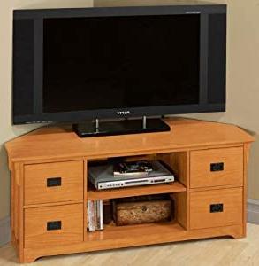 Popular Craftsman Wide Screen Tv Stand Corner Light Oak In Dillon Oak Extra Wide Tv Stands (View 4 of 10)