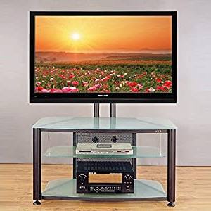 Popular Glass Shelves Tv Stands Pertaining To Silver Flat Panel Tv Stand W Clear Glass Shelves (View 7 of 10)