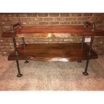 Popular Modern Black Tv Stands On Wheels With Metal Cart Regarding Amazon: Industrial Pipe And Wood Tv Stand Flatscreen (View 3 of 10)