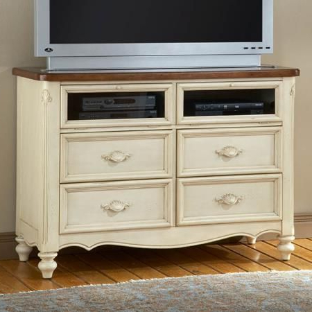 Popular Petter Tv Media Stands Within Chateau Antique White Media Stand (View 8 of 10)
