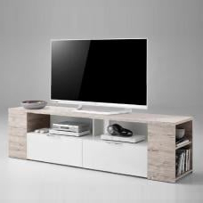 Popular Wexford Tv Stand In White High Gloss Fronts And Oak With With Regard To Tv Stands With 2 Open Shelves 2 Drawers High Gloss Tv Unis (View 8 of 10)