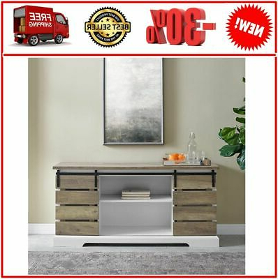 Popular Woven Paths Farmhouse Sliding Barn Door Tv Stands With Multiple Finishes Pertaining To Woven Paths Farmhouse Sliding Slat Door Tv Stand For Tvs (View 1 of 4)