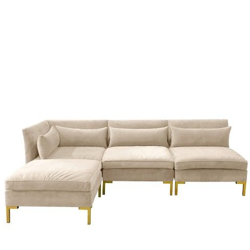 Preferred 4pc Alexis Sectional Sofas With Silver Metal Y Legs Within 4pc Alexis Sectional With Silver Metal Y Legs – Skyline (View 3 of 10)