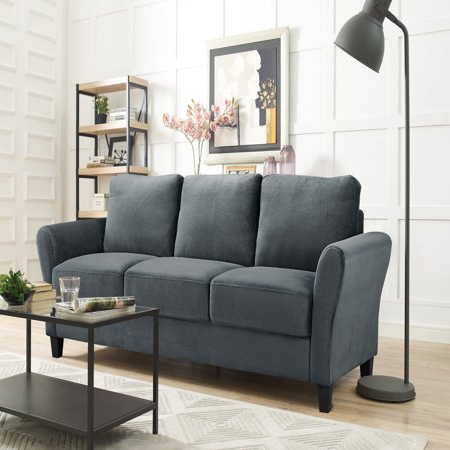 Preferred Alexa Rolled Arm Sofa, Dark Grey – Walmart Within Ludovic Contemporary Sofas Light Gray (View 4 of 10)