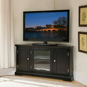 Preferred Black Hardwood Oak Corner Tv Stand Media Av Cabinet Pertaining To Simple Open Storage Shelf Corner Tv Stands (View 2 of 10)