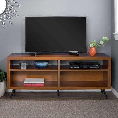 Preferred Conrad Metal/glass Corner Tv Stands Inside 58 Inch Mid Century Modern Wood Rounded Corner Tv Stand (View 2 of 10)