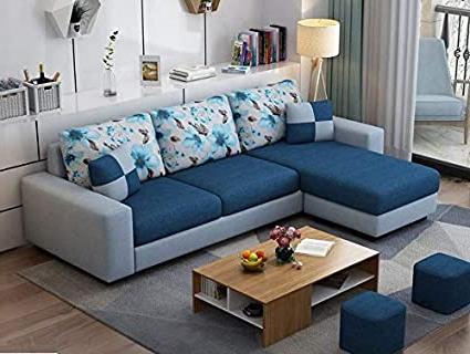 Preferred Ludovic Contemporary Sofas Light Gray Within Munafa Village L Shape Modern Navy Blue & Grey Fabric Sofa (View 9 of 10)