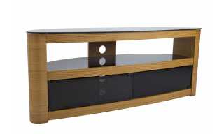 Preferred Sherbourne Oak Corner Tv Stands Within Ohio Oak 3 Drawer Tv Stand With Chrome Legs (View 8 of 10)