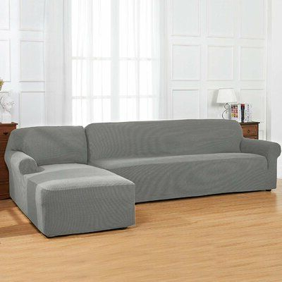 Preferred Winston Porter L Shaped Textured Grid Stretchy Box Cushion In Winston Sofa Sectional Sofas (View 7 of 10)