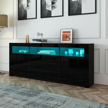 Recent 160cm Tv Stand Cabinet Sideboard With Black High Gloss Within Ktaxon Modern High Gloss Tv Stands With Led Drawer And Shelves (View 8 of 10)