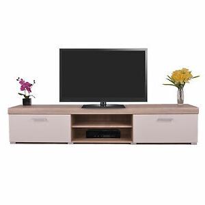 Recent 2 Metre White & Sonoma Oak Effect 2 Door Tv Cabinet Plasma For Fulton Oak Effect Wide Tv Stands (View 9 of 10)