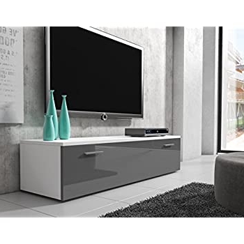 Recent Boston Tv Stands Pertaining To Tv Unit Cabinet Stand Boston Body Matte White/ Front Grey (View 9 of 10)