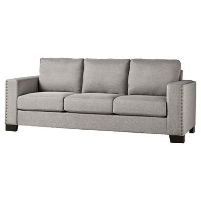 Recent Carnegie Hill Nailhead Sofa Smoke (grey) – Inspire Q Throughout 2pc Polyfiber Sectional Sofas With Nailhead Trims Gray (View 5 of 10)