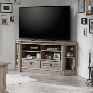 Recent Conrad Metal/glass Corner Tv Stands With Regard To Welwick Designs 48 In (View 1 of 10)