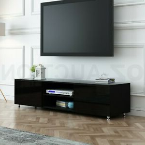 Recent Dillon Black Tv Unit Stands Inside Tv Stand 160cm Lowline Entertainment Cabinet High Gloss (View 4 of 10)