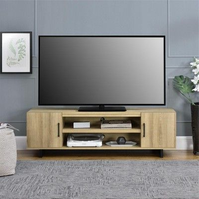 """Recent Dillon Oak Extra Wide Tv Stands With 65"""" Rockwood Tv Stand Oak – Room & Joy (View 9 of 10)"""