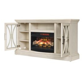 Recent Duraflame 62 In W Weathered White Infrared Quartz Electric Pertaining To Fireplace Media Console Tv Stands With Weathered Finish (View 6 of 10)